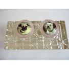 Tintenfass - Silber / Emaille / Kristallglas - Mops und Bulldogge
